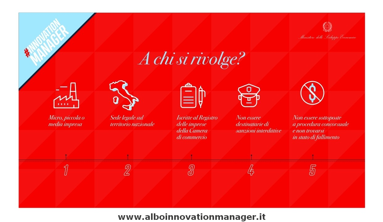 Info Innovation Manager Infografica Mise per Innovation Managar a chi si rivolge