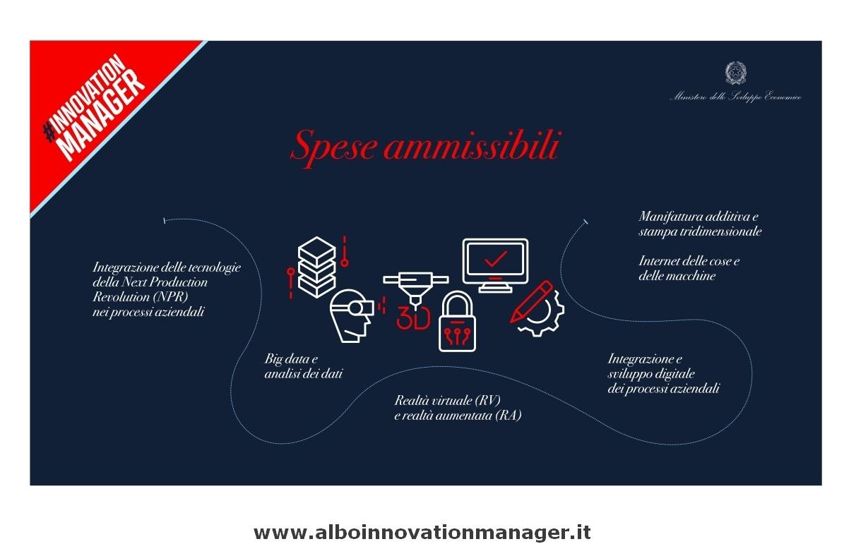 Info Innovation Manager Infografica Mise per Innovation Managar le spese ammissibili