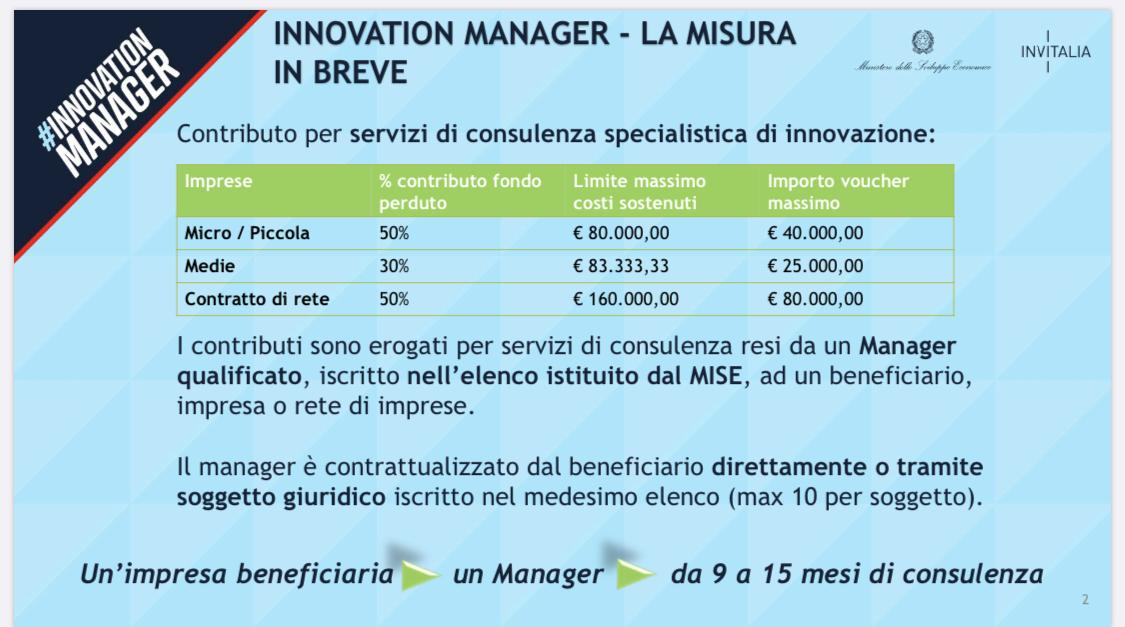 Albo Innovation Manager Mise Web Strategia Gianfelici consulenza bando contributi